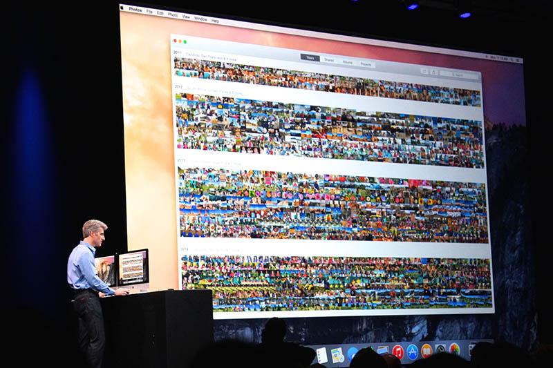 「来年以降登場」との但し書き付きで公開された、OS X向けの写真アプリ。iOSのものにかなり機能が近い。今後のiPhotoなどとの関係も気になる