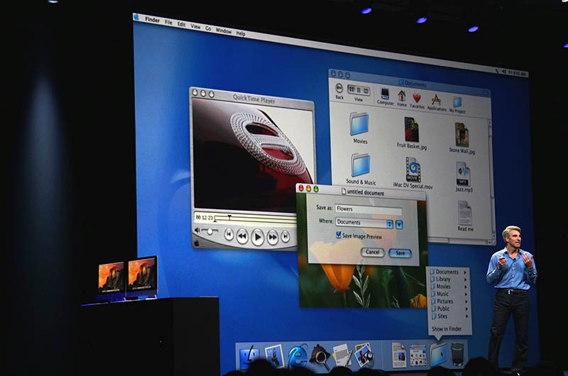 参考までに、初期Mac OS Xの「Aqua」デザイン。ずいぶんと変わったものだ。