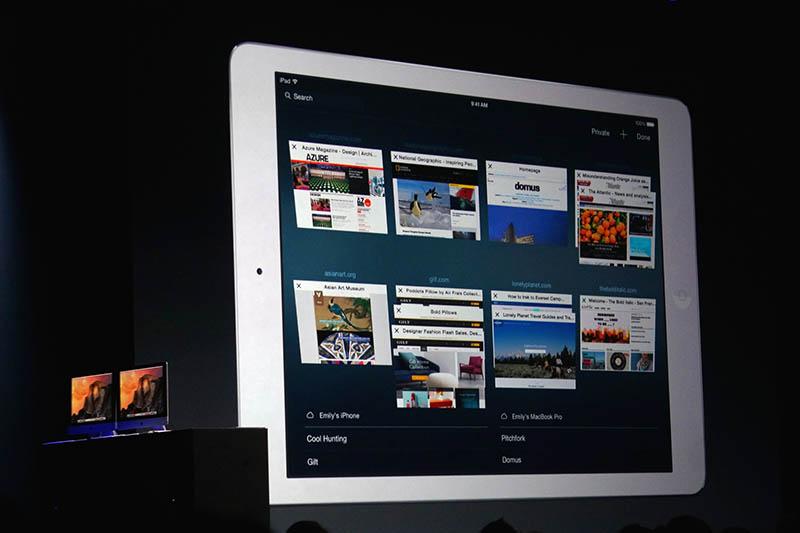 iPadのiO8版Safari。タブ表示の方法がYosemite版Safariと同じであり、操作方法面での一貫性は高まった。