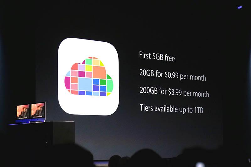 「iCloud Photo Library」の料金体系。現在のiCloudの料金は、ライバルのネットストレージに比べ高めだが、ずいぶん競争力のある数字になってきた