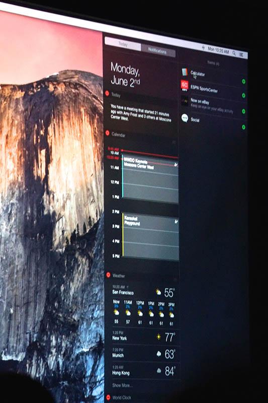 OS X Yosemiteの「通知センター」。情報量が増え、よりiOSチックな方向性になった