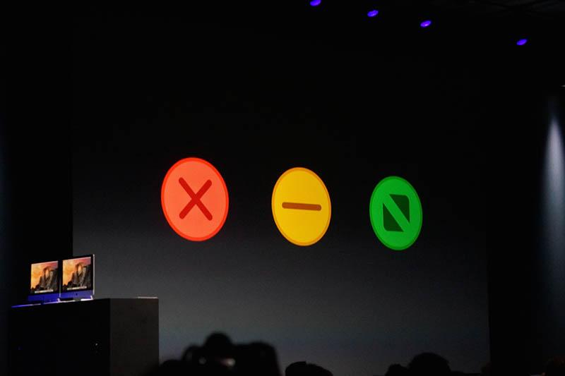 ウインドウ左上にあり、マックユーザーにはおなじみの「クローズボタン」などもフラット化。全体にかなりシンプルになった印象だ。