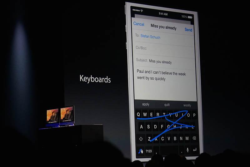 iOS 8から、ついにキーボード面について、デベロッパーの関与が可能に。日本語入力面の充実が進むか? 要注目。