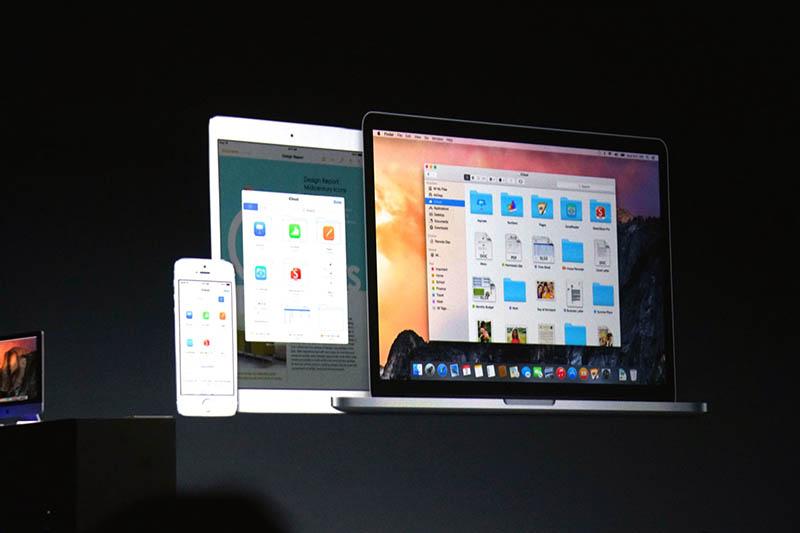 iCloud Driveの動作イメージ。MacとiOS機器の間で透過的に利用できるクラウドストレージになる