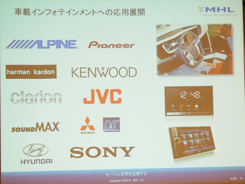 ケンウッドブランドの「MDV-Z701」など車載機器にもMHL対応が広がっている。