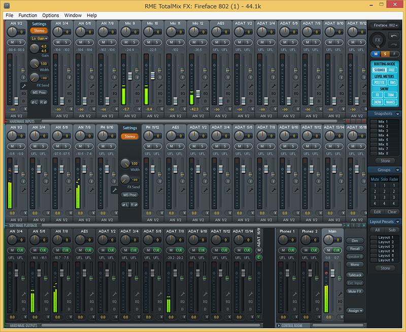 TotalMix Fxは3段のミキサー画面で構成