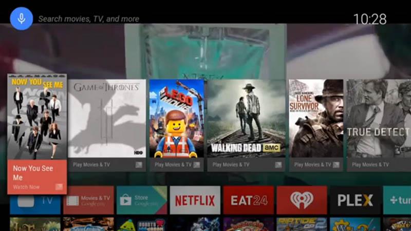 Android TVのホーム画面