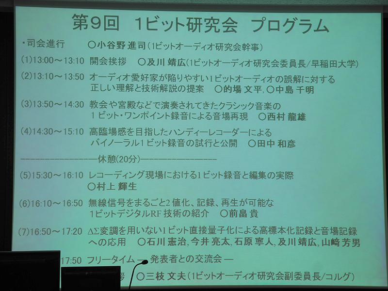 講演のプログラム