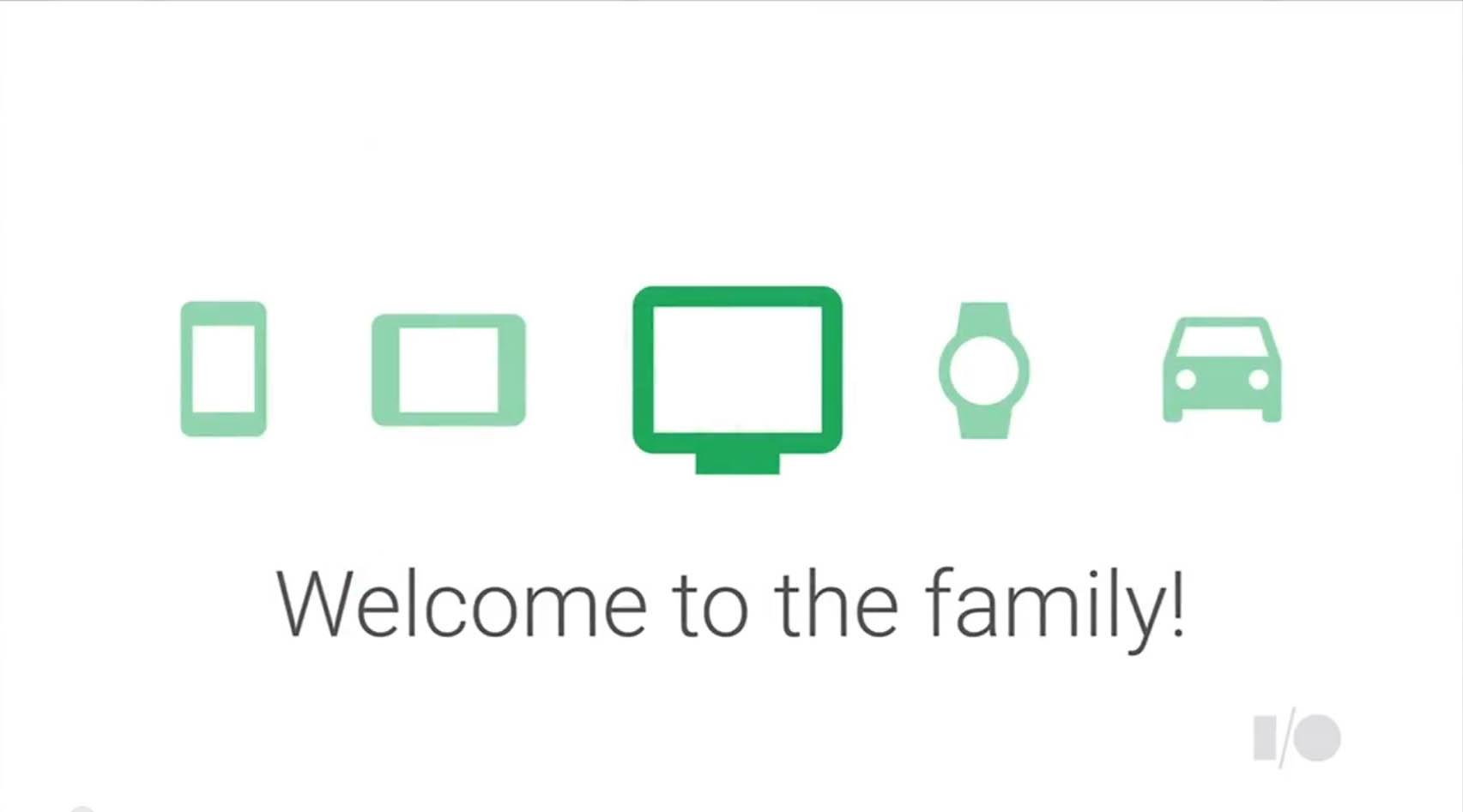 テレビもAndroidファミリーの一つになった、と強調。「Android L」の特徴は、用途拡大とOS基盤統一にある