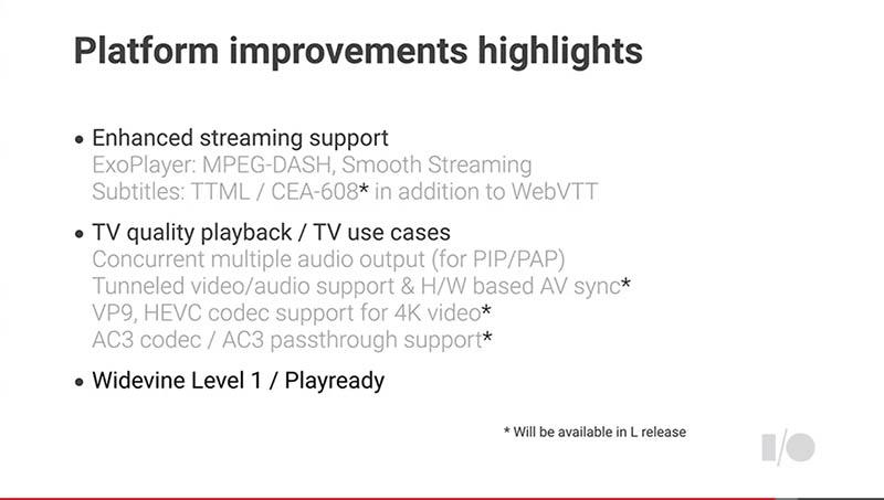 Android TVのサポートするTV機能。HEVCや4Kなどの最新事情に合わせた機能がサポートされる他、ハードウェアベースでのAV系コンテンツ表示のサポート強化も注目