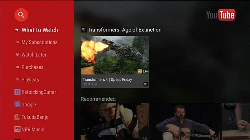 YouTube。Android TV上で動作するアプリは、ゲームなども想定されているが、どちらかといえばこうした「メディア系アプリ」が中心だ