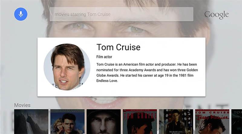 Android TVでの音声検索画面。表示だけを見ると、タブレットなどでの音声検索画面に近いが、対象はウェブでなくあくまで「テレビ番組や映画」だ。