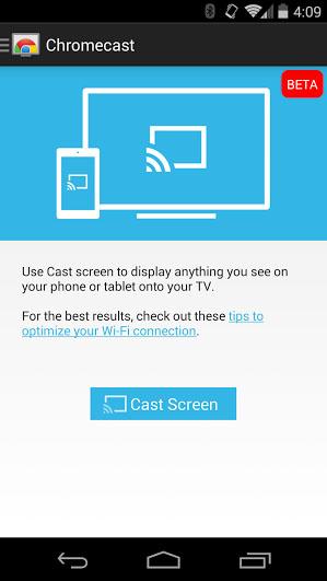 アプリ「Chromecast」最新版の画面。「画面のキャスト」機能はβ版となっている