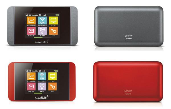 Pocket WiFi 303HW(ダークシルバー、レッド)