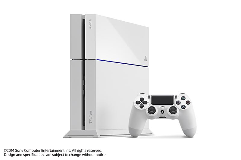 PS4新色の「グレイシャー・ホワイト」(別売縦置きスタンド装着時)