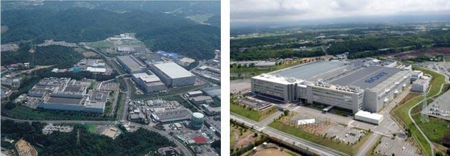 ソニーセミコンダクタ 長崎テクノロジーセンター(左)、熊本テクノロジーセンター(右)