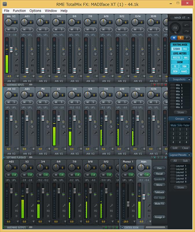 Total Mix FXでコントロール可能
