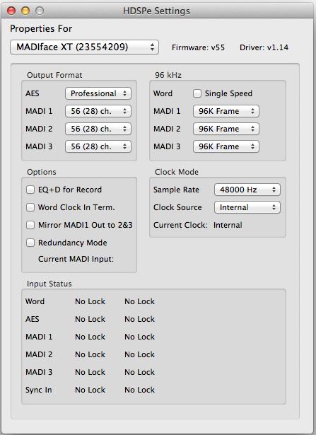 HDSPe MADI FX/MADIface XTというPCI Express用のドライバを入れると認識し、Total Mix FXなども使えた
