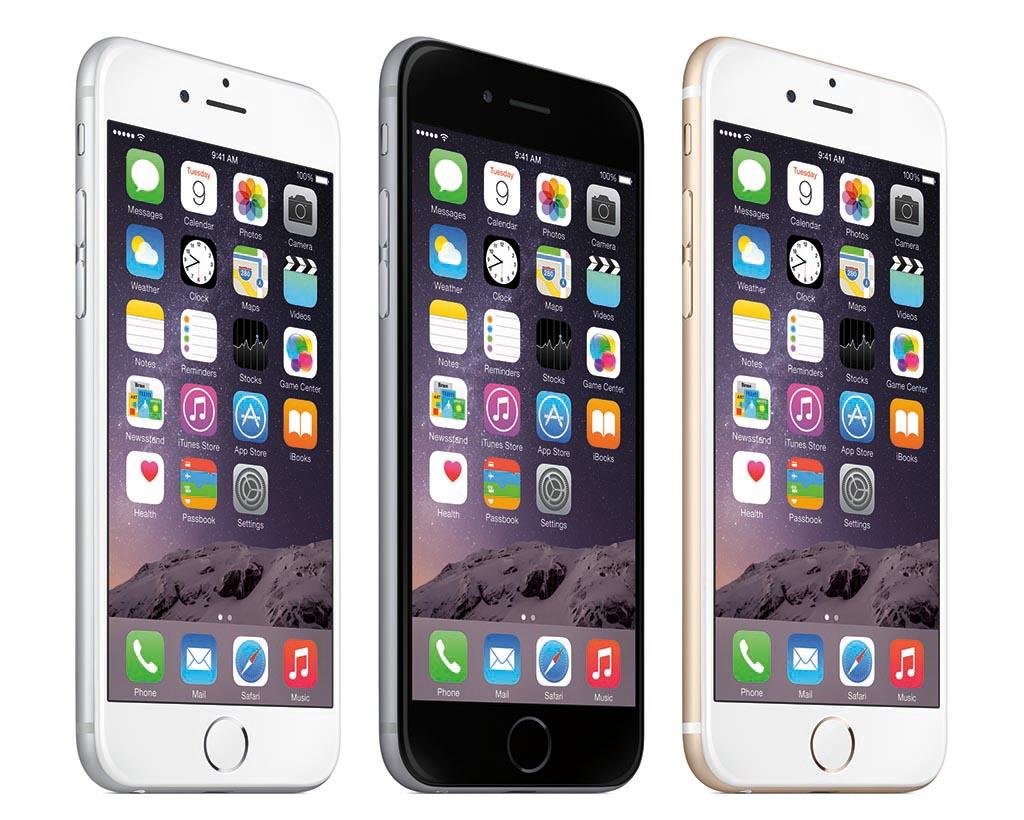 iPhone 6(左)とiPhone 6 Plus(中央、右)