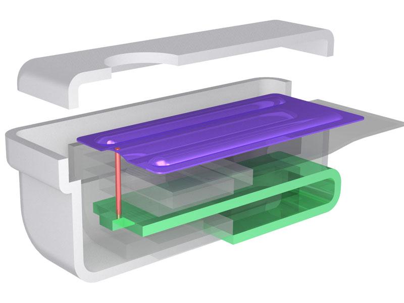 従来のBAユニット。黄緑色のアーマチュアがU型になっており、連結ロットで紫色の振動板と接続されている