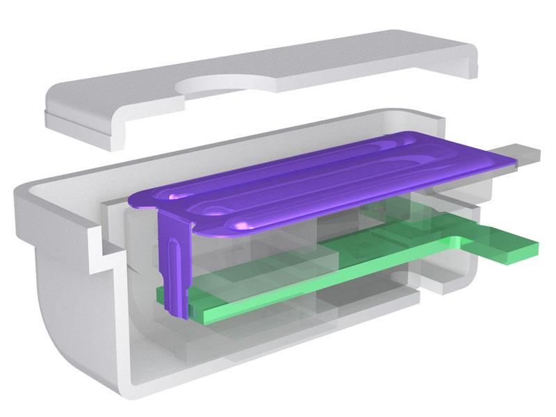 新BAユニット。アーマチュアがT型になり、紫の振動板と連結ロッドが一体化しているのがわかる