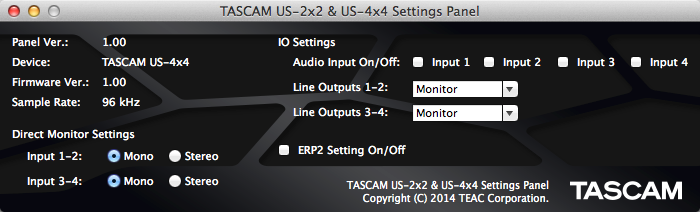 Mac用の設定画面