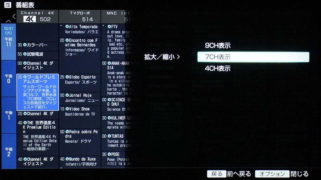 番組表の表示は、9/7/4chに切替が可能になっている
