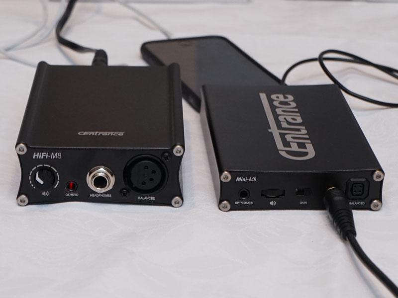 左が「HiFi-M8」、右が「Mini-M8」。半分ほどに薄くなっている