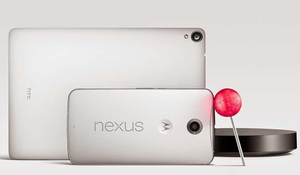 Nexus 9(左奥)とNexus 6(左手前)。右奥にあるのは日本未発売のSTB「Nexus Player」