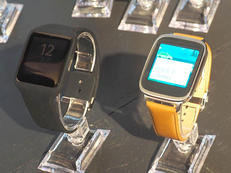 左がソニー製「SmartWatch 3」、右がASUS製「ZenWatch」(32,184円)