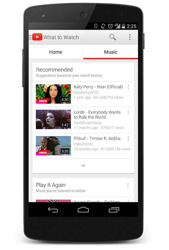 スマートフォン版YouTubeアプリの音楽カテゴリ
