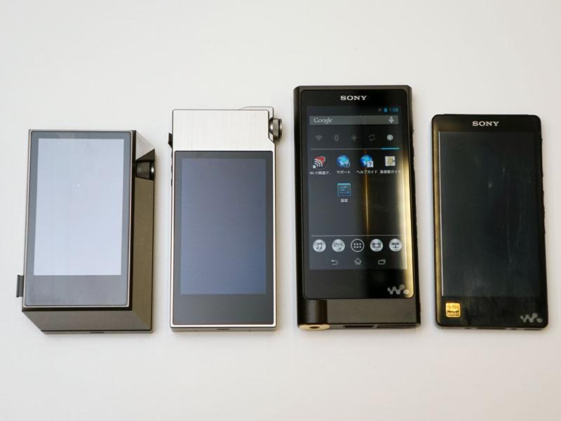 左からAK240、AK120II、NW-ZX2、NW-F880