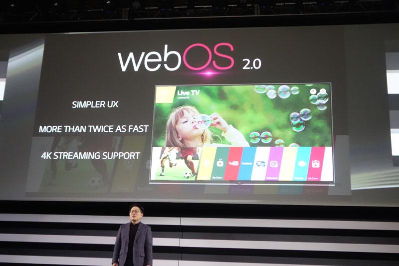 LG電子のプレスカンファレンスより。2014年発売のwebOS搭載テレビをブラッシュアップし、より快適なものを目指す
