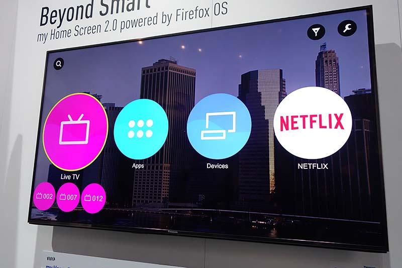 パナソニックが開発中の「Firefox OS搭載テレビ」。2015年中の製品化が予定されている