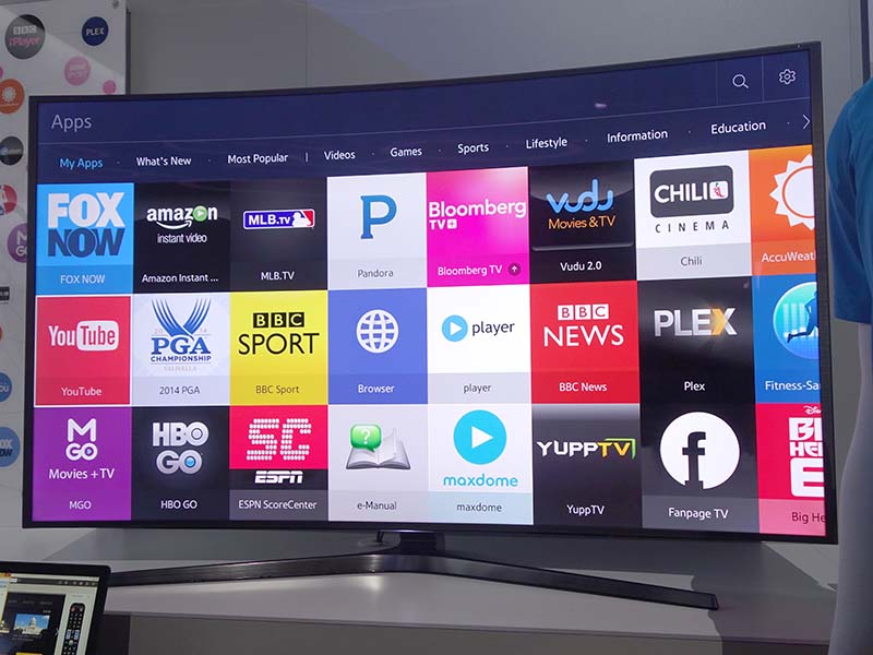 サムスン電子のTizen搭載テレビ。かなり開発は進行しているらしく、デモ量は各メーカーの中でもっとも多いくらいだった
