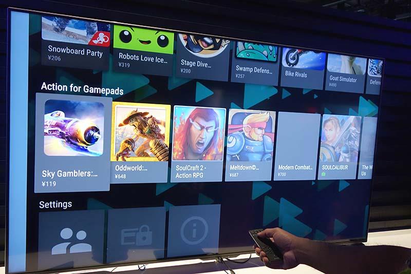 シャープのAndroid TV。Google Playのアプリストアも搭載されていて、ゲームなどもプレイ可能