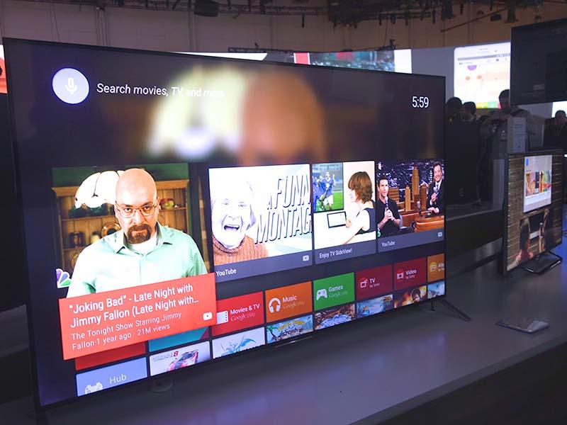 ソニーが開発中のAndroid TV搭載テレビ。低価格機種をのぞき、4Kから2Kまで、ほとんどの製品に搭載を予定しているという