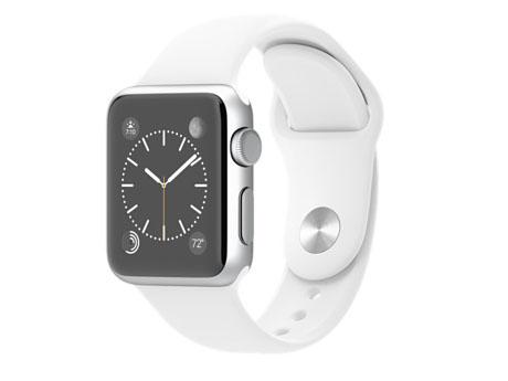 Apple Watch SPORT、38mmシルバーアルミニウムケースとホワイトスポーツバンド