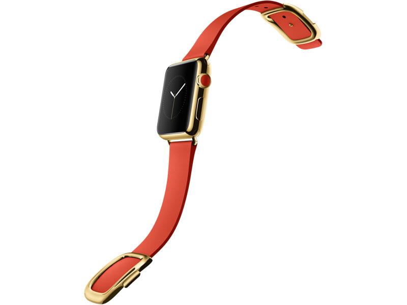 Apple Watch EDITION、38mm 18Kイエローゴールドケースとブライトレッドモダンバックル