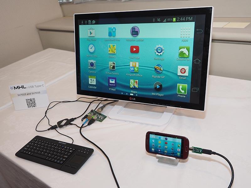 SiI7023/SiI7033で、スマホとタッチディスプレイをsuperMHL/USB接続して操作するデモ