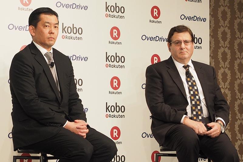 楽天 常務執行役員 相木孝仁氏(左)と、OverDriveのSteve Potash社長兼CEO(右)