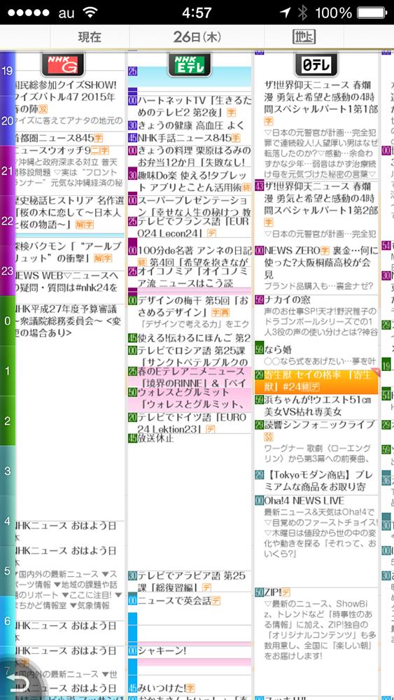 nasne mobileの番組表
