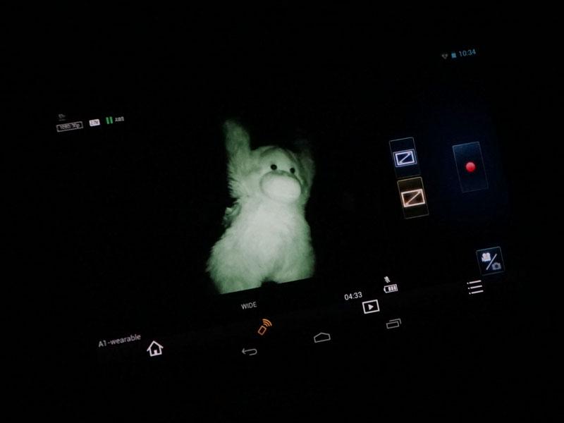 赤外線ライトを照射し、ナイトモード用カバーを取り付けたA1Hで撮影すると、このようにぬいぐるみが撮影できる