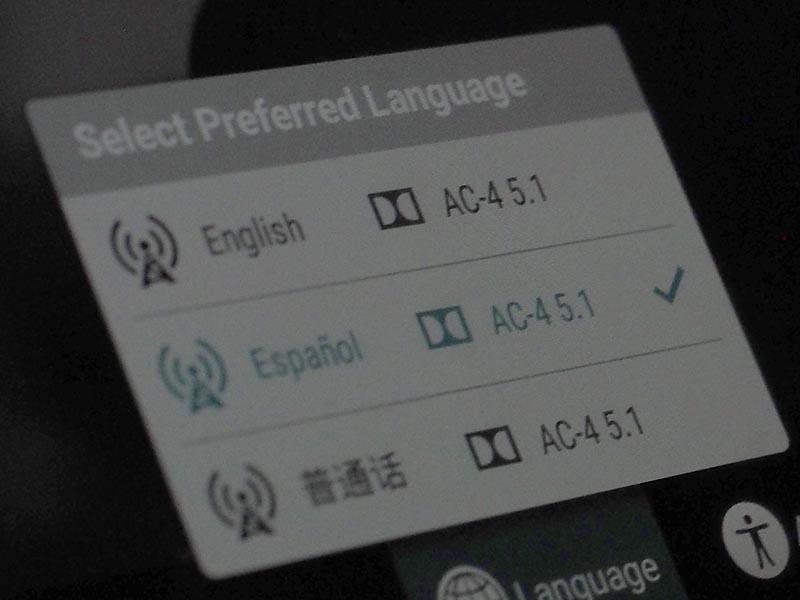 音声選択画面(スペイン語5.1chを選択)