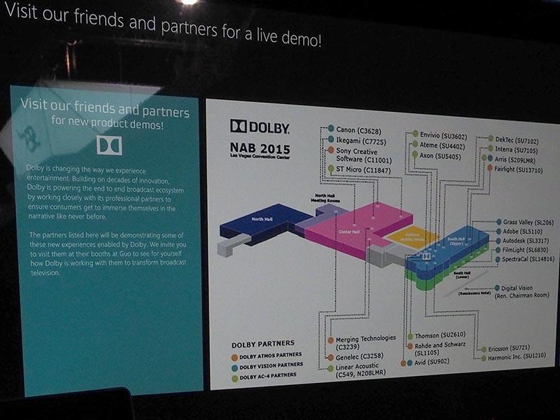 NAB会場内には、AC-4やDolby Vision、Dolby Atmosのパートナーが数多く出展している