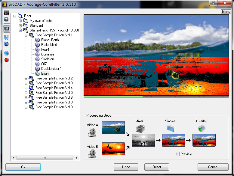 proDAD Adorage starter packの設定画面