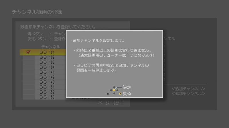 追加チャンネル使用時に表示されるアラート