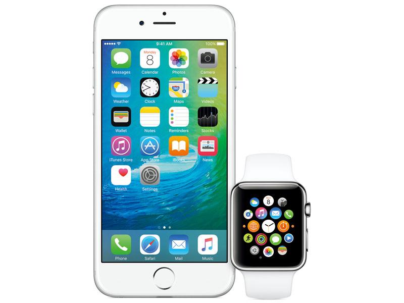 iOS 9をインストールしたiPhoneと連携しているところ