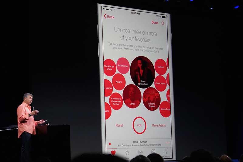 Apple Musicの嗜好チェックに使うUI。実はBeats Musicから引き継いだものだ