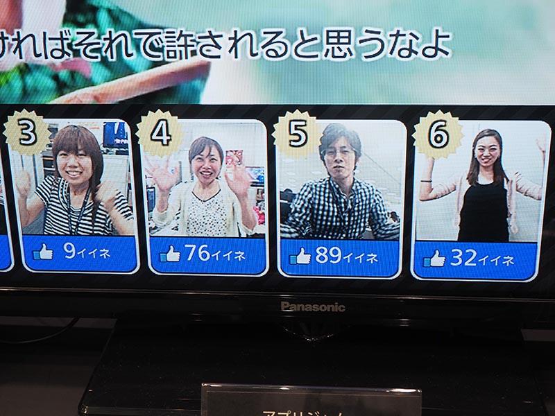 どの人に吹き替えて欲しいか、視聴者が投票。一番左には、自分の顔が表示される